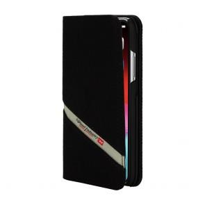 Diesel 2-in-1 Folio Case for iPhone X/Xs - Black Denim Diagonal Logo/Black Leather Interior/Red Detailing