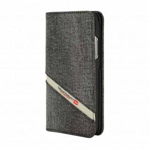 Diesel 2-in-1 Folio Case for iPhone X/Xs - Grey Denim Diagonal Logo/Black Leather Interior/Red Detailing