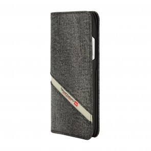 Diesel 2-in-1 Folio Case for iPhone XR - Grey Denim Diagonal Logo/Black Leather Interior/Red Detailing