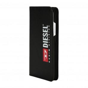 Diesel 2-in-1 Folio Case for iPhone XR - Black Leather Printed & Debossed Seasonal Logo/Black Leather Interior/Red Detailing