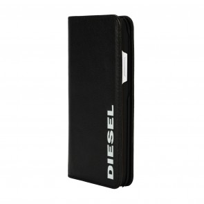 Diesel 2-in-1 Folio Case for iPhone XR - Black Leather White Vertical Logo/Black Leather Interior/Lime Green Detailing