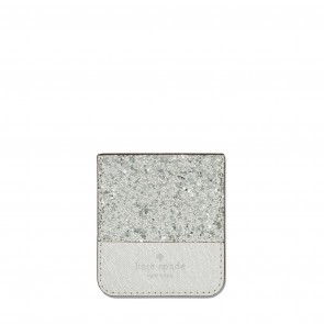 kate spade new york Sticker Pocket - Color-Block Silver Glitter/Silver Saffiano