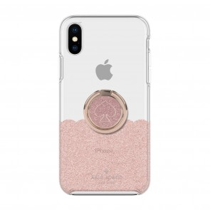kate spade new york Gift Set: Ring Stand (Spade Rose Gold Glitter Enamel) & Protective Hardshell Case (1-PC Comold) for iPhone Xs Max (Scallop Rose Gold Glitter/Clear)