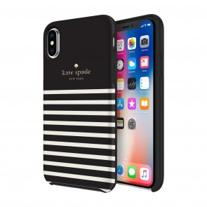 kate spade new york Protective Hardshell Case (1-PC Comold) for iPhone X/Xs - Soft Touch Comold Feeder Stripe Black/Cream/Gold Logo