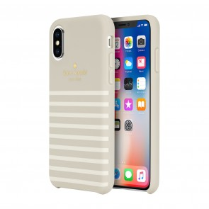 kate spade new york Protective Hardshell Case (1-PC Comold) for iPhone X/Xs - Soft Touch Comold Feeder Stripe Clocktower/Cream/Gold Logo