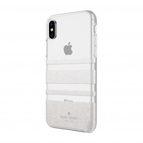 kate spade new york Protective Hardshell Case (1-PC Comold) for iPhone X/Xs - Charlotte Stripe White Glitter/Clear