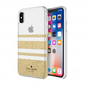 kate spade new york Protective Hardshell Case (1-PC Comold) for iPhone Xs Max - Charlotte Stripe Gold Glitter/Clear