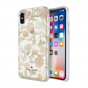 kate spade new york Protective Hardshell Case (1-PC Comold) for iPhone Xs Max - Blossom Pink/Gold Foil/Gems