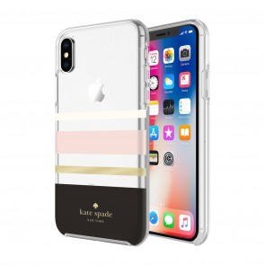 kate spade new york Protective Hardshell Case (1-PC Comold) for iPhone Xs Max - Charlotte Stripe Black/Cream/Blush/Gold Foil