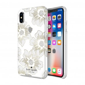 kate spade new york Defensive Hardshell Case (1-PC Comold) for iPhone X/Xs - Reverse Hollyhock Floral Clear/Cream with Stones