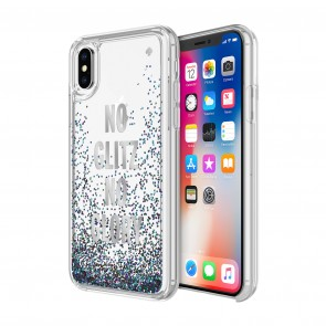kate spade new york Liquid Glitter Case for iPhone X/Xs - No Glitz No Glory Silver Foil/Mermaid Glitter/Clear