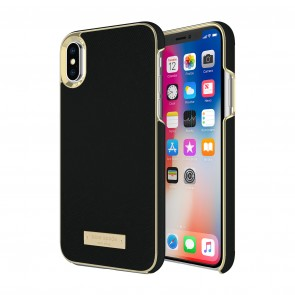 kate spade new york Wrap Case for iPhone Xs Max - Saffiano Black/Gold Logo Plate