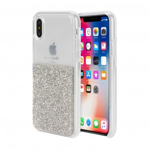 kate spade new york Half Clear Crystal Case for iPhone X/Xs - Silver