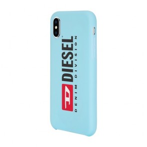 Diesel Printed Co-Mold Case for iPhone XS & iPhone X - Soft Touch Seasonal Logo Blue/ Red/White/Blue Bumper