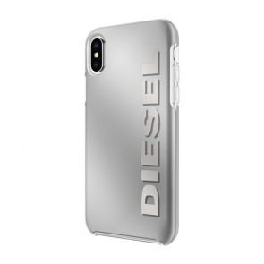 Diesel Printed Co-Mold Case for iPhone XS & iPhone X - Vertical Logo/Silver Foil
