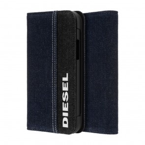 Diesel 2-in-1 Folio Case for iPhone 11 Pro - Black Denim/Blue Denim/White Vertical Logo