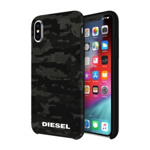 Diesel Printed Co-Mold Case for iPhone X/Xs - Soft Touch Pixelated Camo Black/Grey