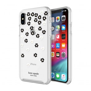 kate spade new york Protective Hardshell Case (1-PC Co-Mold) for iPhone XS & iPhone X - Scattered Flowers Black/White/Gold Gems/Clear
