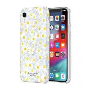 kate spade new york Protective Hardshell Case (1-PC Co-Mold) for iPhone XR - Scattered Flowers Black/White/Gold Gems/Clear