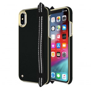 kate spade new york Wrap Strap Case for iPhone XS & iPhone X - Scallop Black Saffiano/Gold Saffiano Scallop Strap