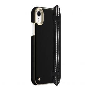 kate spade new york Wrap Strap Case for iPhone XR - Scallop Black Saffiano/Gold Saffiano Scallop Strap
