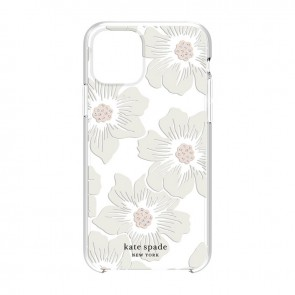 kate spade new york Protective Hardshell Case (1-PC Comold) for iPhone 11 - Hollyhock Floral Clear/Cream with Stones