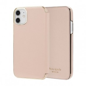 kate spade new york Folio Case for iPhone 11 - Pale Vellum PVC/Gold Logo
