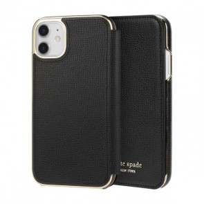 kate spade new york Folio Case for iPhone 11 - Black PU/Gold Logo