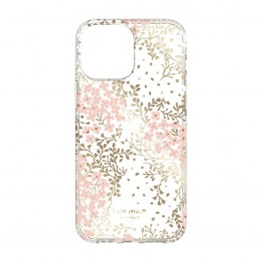 Kate Spade New York Protective Hardshell Case for iPhone 13 - Multi Floral/Blush/White/Gold Foil/Gems/Clear