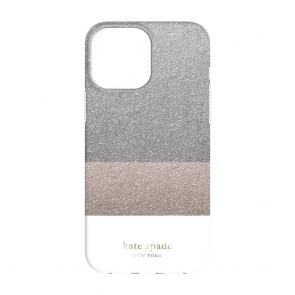 Kate Spade New York Protective Hardshell Case for iPhone 13 - Glitter Block White/Silver Glitter/Gold Glitter/White