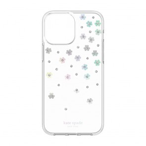 Kate Spade New York Protective Hardshell Case for iPhone 13 - Scattered Flowers/Iridescent/Clear/White/Gems