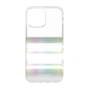 Kate Spade New York Protective Hardshell Case for iPhone 13 - Park Stripe/White/Iridescent/Clear