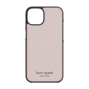 Kate Spade New York Wrap Case for iPhone 13 - Pale Vellum/Black Bumper/Black Logo