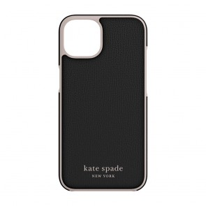 Kate Spade New York Wrap Case for iPhone 13 - Black/Pale Vellum Bumper/Pale Vellum Logo