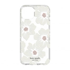 Kate Spade New York Protective Hardshell Case for MagSafe for iPhone 13 - Hollyhock Floral Clear/Cream with Stones