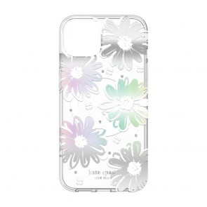 Kate Spade New York Protective Hardshell Case for MagSafe for iPhone 13 - Daisy Iridescent Foil/White/Clear/Gems