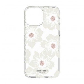 Kate Spade New York Protective Hardshell Case for iPhone 13 - Hollyhock Floral Clear/Cream with Stones