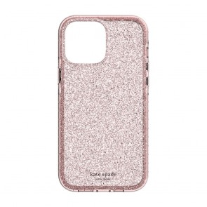Kate Spade New York Ultra Defensive Hardshell Case for iPhone 13 - Pink Translucent Glitter Wash/Pink Bumper with Spade Etching