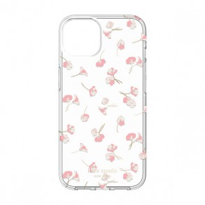 Kate Spade New York Protective Hardshell Case for iPhone 13 Pro - Falling Poppies Blush/Cream/Gold Foil/Clear/Crystal Gems