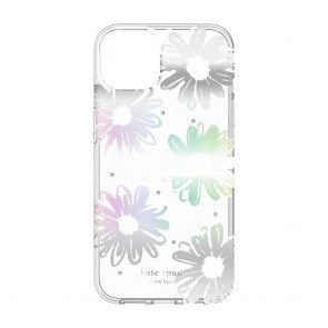 Kate Spade New York Protective Hardshell Case for iPhone 13 Pro - Daisy Iridescent Foil/White/Clear/Gems