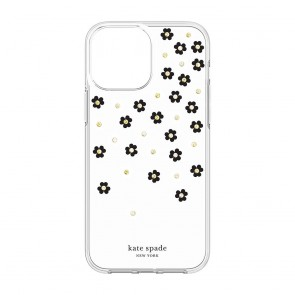 Kate Spade New York Protective Hardshell Case for iPhone 13 - Scattered Flowers Black/White/Gold Gems/Clear/White Bumper
