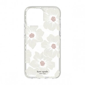 Kate Spade New York Defensive Hardshell Case for MagSafe for iPhone 13 - Hollyhock Floral Clear/Cream with Stones/Cream Bumper