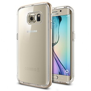 Galaxy S6 Edge Case, Spigen® [Hybridized Clarity] Galaxy S6 Edge Case Bumper + Clear Protective Back **NEW** [Neo Hybrid CC] [Champagne Gold] - [1 Back Protector Included] Clear back panel + Dual TPU and PC bumper for Galaxy S6 Edge (2015) - Champagne Gol