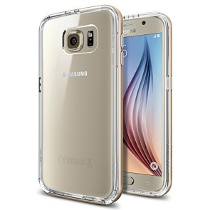 Galaxy S6 Case, Spigen® [Hybridized Clarity] Galaxy S6 Case Bumper + Clear Protective Back **NEW** [Neo Hybrid CC] [Champagne Gold] - [1 Back Protector Included] Clear back panel + Dual TPU and PC bumper for Galaxy S6 (2015) - Champagne Gold (SGP11510)