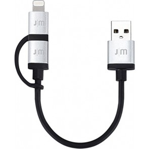 Just Mobile AluCable Duo Short Durable Sync/Charge Cable for Smartphones (DC-159) - Retail Packaging - Silver/Black