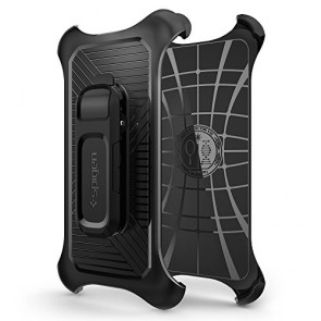 Galaxy S6/S6 Edge Holster, Spigen® [Clip/Holster] Galaxy S6/S6 Edge Holster Compatible with Spigen Case of Tough Armor / Slim Armor / Neo Hybrid **NEW** [Belt Clip] [Black] Sturdy holster holds device with case on for Galaxy S6/S6 Edge (2015) - Black (SGP