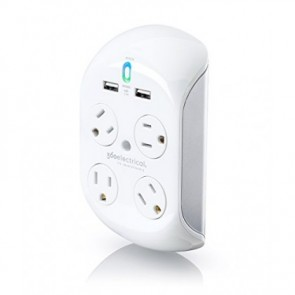 360 Electrical Revolve2.4 Surge Protector with 4 Rotatint Outlets and 2.4A USB White/Silver