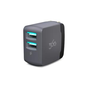 360 Electrical Vivid3.4 2-Port 3.4A USB Wall Charger (Grey)
