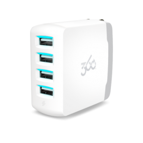 360 Electrical Vivid8.0 4-Port 8.0A USB Wall Charger (White)