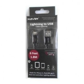 Xavier 6-Feet Lightning Cable for iOS Lightning Devices - Retail Packaging - Black